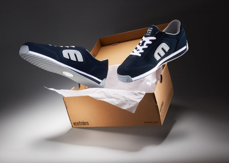 Ian Knaggs Commercial Product Photographer - Etnies Trainers Floating with Box