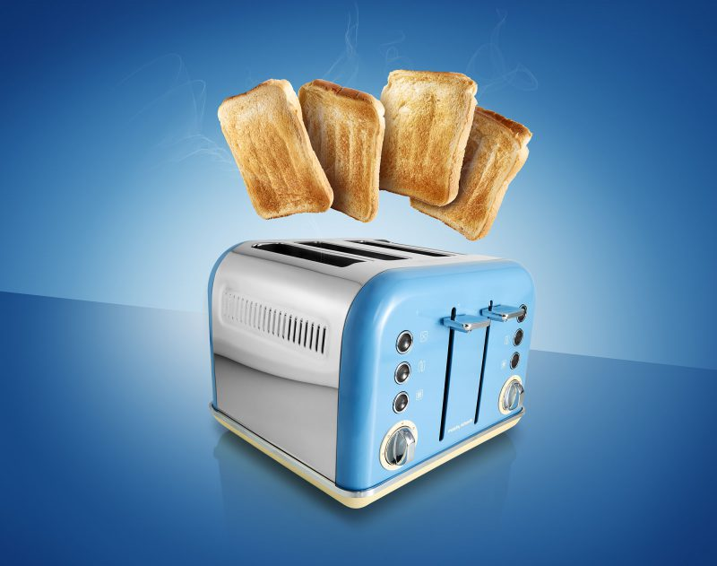Blue Morphy Richards toaster with toast created Ian Knaggs Commercial Product Photographer - Hot Toast