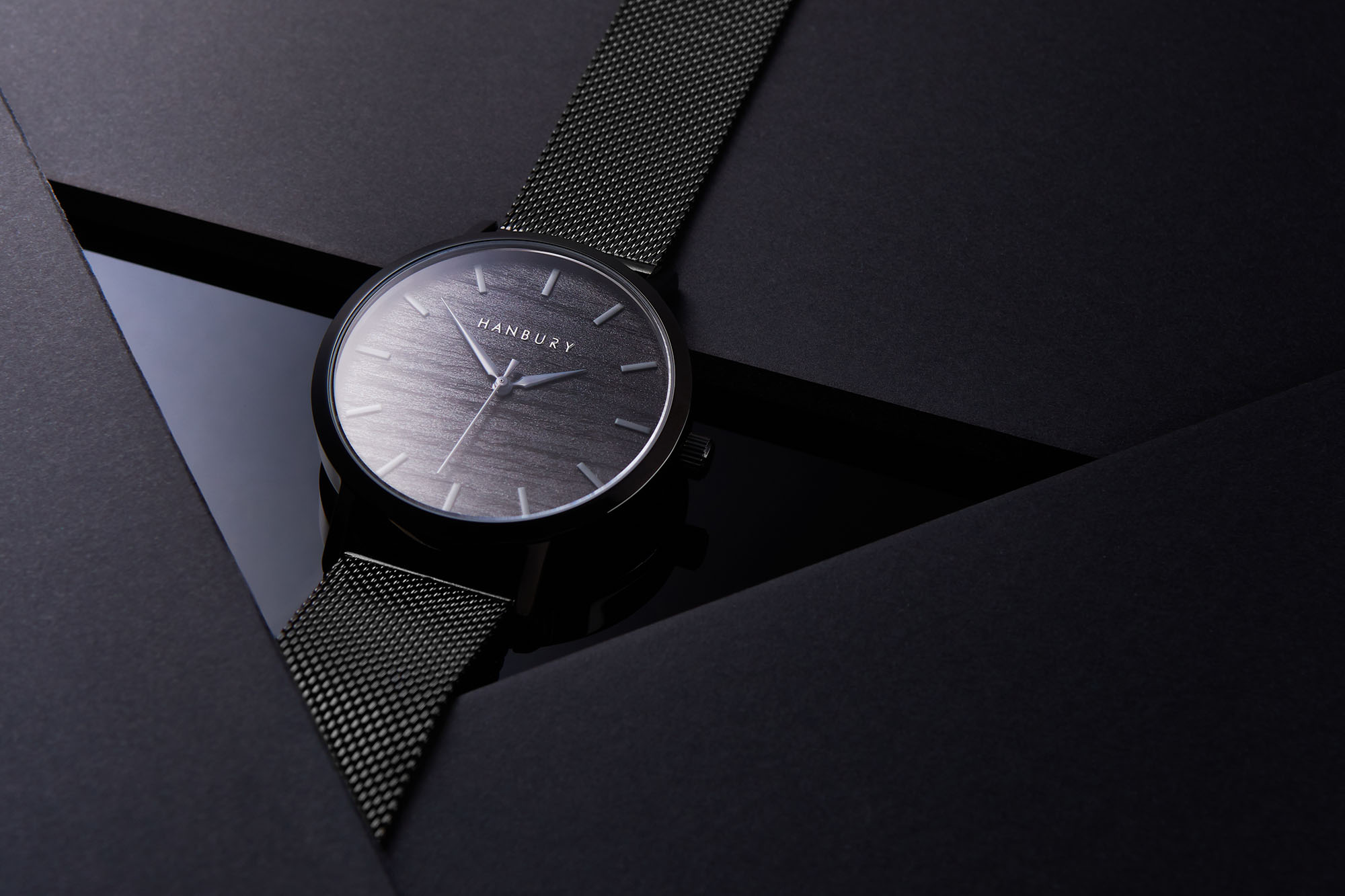Ian Knaggs Commercial Watch Photographer - Hanbury Watch in Black Triangle