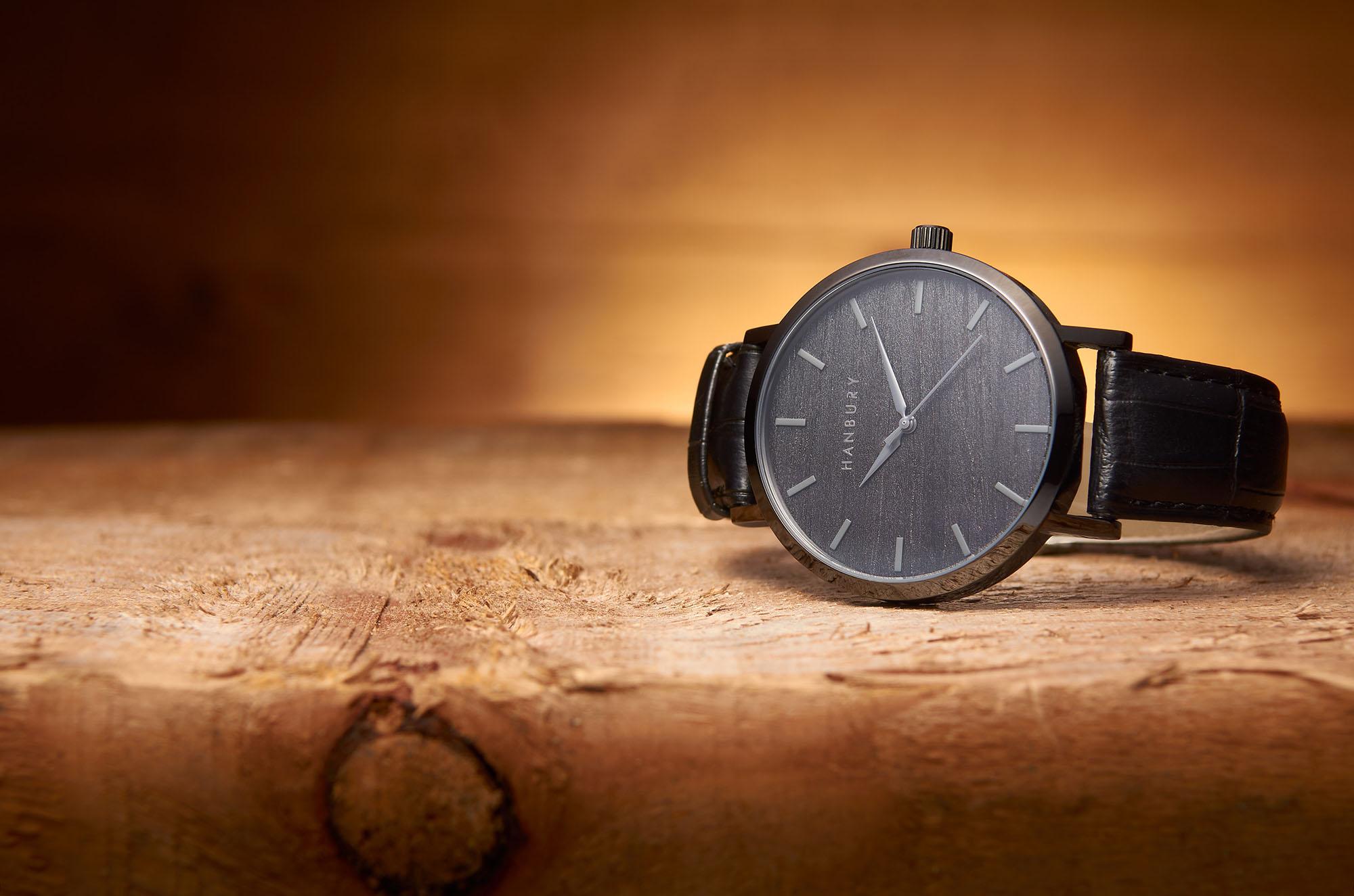 Ian Knaggs Commercial Watch Photographer - Hanbury watch on wood block
