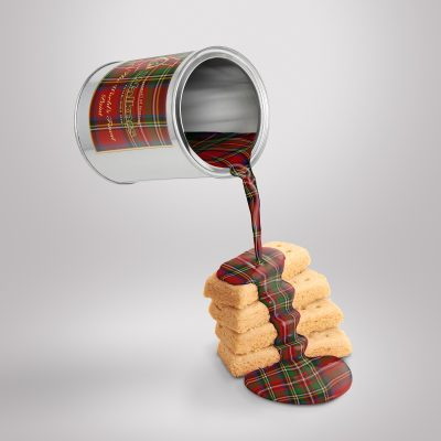 Food product photography of tartan paint on shortbread by UK midlands creative advertising photographer Ian Knaggs