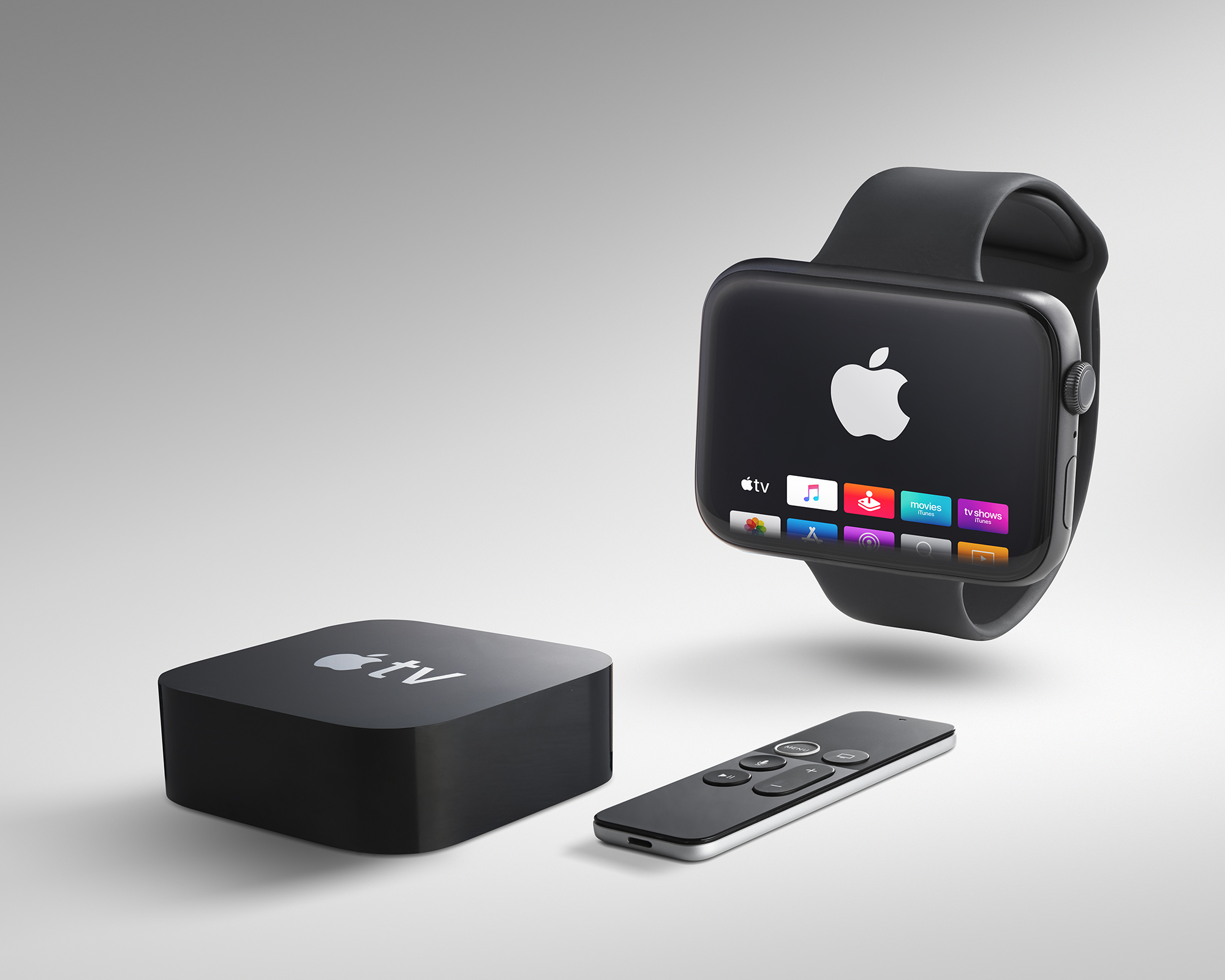 Advertising product image of Apple TV and watch by photographer Ian Knaggs