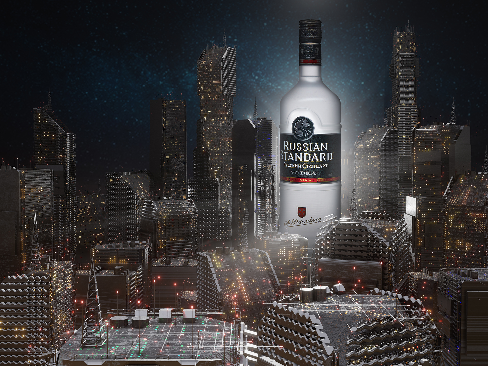Russian Standard Vodka Bottle using CGI cityscape background created by professional photographer Ian Knaggs